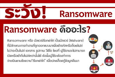ระวัง! Ransomware โจมตีผ่านไซเบอร์รุนแรง